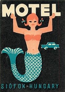 Siofok Hungary Motel Hotel Vintage Mermaid Luggage Label | eBay