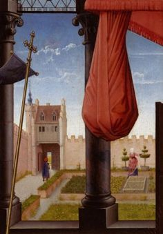 """turf benches, orderly raised beds of herbs, topiary.   Detail from """"The Annunciation"""", Rogier van der Weyden, 1465-75"""