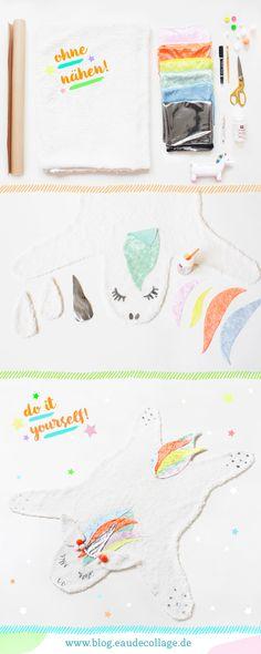 DIY EINHORN TEPPICH (OHNE NÄHEN!) // Unicorn-Power! Diesen genialen DIY Einhorn Teppich könnt ihr einfach selber machen: aus günstigen Materialien und ganz ohne Nähen! Bonus: die schönsten Stoffläden in Köln! :) #einhornteppich #unicornrug #teppich #ohnenähen #unicorndiy