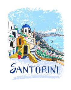 Santorini Greece Art Print, 11 x 14, Illustration, Drawing, Travel