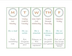 Summer schedule - something fun for each day of the week!