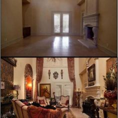 That's Haute, Donna Decorates Dallas on HGTV, before and after.