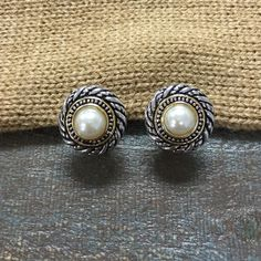 Faux Pearl Teresa Stud Earrings Antique gold and silver tones with a soft tones faux pearl as the focal point. Ocean Jewelers Jewelry