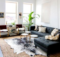 Gray sofa with modern coffee tables, cowhide rug, and indoor plants