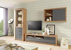 Wohnwand Im Eichefarbenen Look: Stylische Möbelkombination Von HOMu0027IN