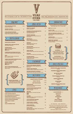 Très belle palette et l'information est bien présentée - The Village Kitchen #Menu from BrandCory