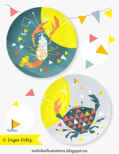 malinka illustrations Plates, Tableware, Kitchen, Licence Plates, Cooking, Plate, Dinnerware, Dishes, Dish
