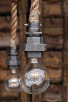 De Machina - industriële Pipe touw Pendant Light - Caged plafond opknoping verlichting - rustieke Edison lamp verklaring Lamp