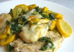 Great dish! Chicken with squash and spinach. So yummy every time I bake this (and easy too)!