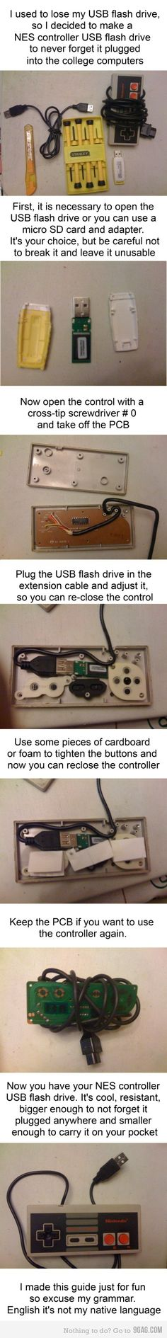 Here's a simple guide on turning your old NES controller to a usable USB mass storage device.