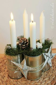 Creating a Rustic Winter Christmas Centerpiece can be easier than you think. Come see these creative ideas for creating your own Rustic Winter Centerpiece! Advent Candles, Christmas Candles, Christmas Centerpieces, Rustic Christmas, Xmas Decorations, Winter Christmas, Christmas Home, Recycled Christmas Decorations, Nordic Christmas