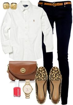 Black skinny jeans, white shirt, brown/gold accessories.