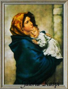 """One of the most beloved images of Our Lady, """"Madonna of the Streets"""" depicts a youthful Mary holding the Child Jesus close to her heart. This hangs in our hallway Madonna Und Kind, Madonna And Child, Lady Madonna, Blessed Mother Mary, Blessed Virgin Mary, Religious Images, Religious Art, La Madone, Queen Of Heaven"""