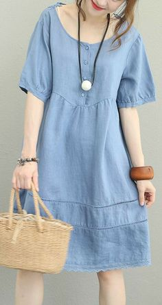 New blue linen dress Loose fitting O neck short sleeve traveling dress New lace patchwork gownMost of our dresses are made of cotton linen fabric, soft and breathy. loose dresses to make you comfortable all the time. Summer Dresses With Sleeves, Vintage Summer Dresses, Blue Summer Dresses, Blue Dress Casual, Blue Dresses, Casual Dresses, Fashion Dresses, Short Sleeve Dresses, Dress Summer