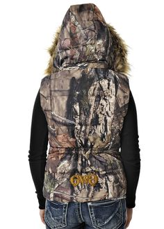 Girls With Guns Clothing Mossy Oak Country Fur Vest with Removable Hood & Fur - Gold Detail GWG Baby's First Haircut, Baby Haircut, Casual Outfits, Cute Outfits, Casual Clothes, Hunting Camo, Puffy Vest, Mossy Oak, Military Fashion
