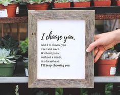 Gift for Wife, I Choose You Sign, Anniversary Gift, Wedding Gift, Bedroom Decor, Farmhouse Decor, Gifts for Girlfriend, Rustic Sign, Home, home decor, DIY home decor, farmhouse, rustic, signs, wood frame, kitchen, living room, bedroom, master bedroom, dining room, bathroom #afflink #girlfriendgift