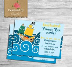 New to DesignedbyDaniN on Etsy: Pirate Birthday Invitation kids invitation under the sea birthday party ahoy party sailor pirate ship invite printable little pirate (15.00 USD)
