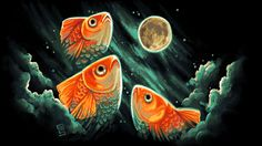 3 goldfish 1 moon mspaint by griffsnuff.deviantart.com on @deviantART
