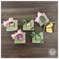 Stampin' Up! – Mini Hasen Verpackung – Bellas Stempelwelt – Savanne, Kirschb… Stampin & # Up! – Mini bunnies packaging – Bellas stamp world – savannah, cherry blossom, forest moss Easter Projects, Easter Crafts, Spring Crafts, Holiday Crafts, Easter Candy, Easter Wreaths, Craft Show Ideas, Stampin Up Cards, Chocolates