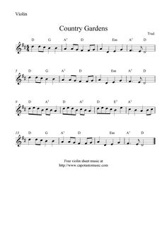 Free Country Fiddle Sheet Music | Free Sheet Music Scores: Free violin sheet music, Country Gardens