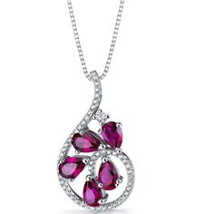 MSRP: $199.99  Our Price: 99.99  Savings: 100.00        Item Number: SP11252    Availability: Usually Ships in 5 Business Days        PRODUCT DESCRIPTION:    This beautiful pendant for her features genuine pear shape rubies gemstones and machine-cut cubic zirconia in fine sterling silver. This beautiful pendant offers exceptional design and craftsmanship and is finished with a bright rhodium finish.        FEATURES:      Crafted in Fine Sterling Silver  (5) 6 x 4 mm Pear Shape Lab…