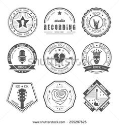 Set of logos rock music and recording studios. Music design elements with font type and illustration vector. Vintage label Rock Beast ( T-Shirt Print ). - stock vector