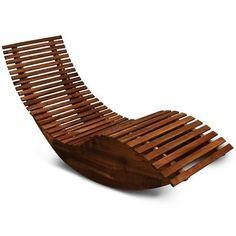Sun Lounger Rocking Deck Chair Curved Sunbed Garden Patio Outdoors Wood Recliner