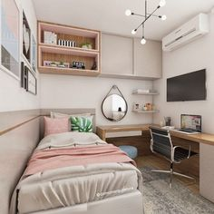 Tiny Bedroom Design, Girl Bedroom Designs, Home Room Design, Teen Room Designs, Small Bedroom Furniture, Small Room Bedroom, Home Decor Bedroom, Very Small Bedroom, Small Bedroom Ideas For Teens