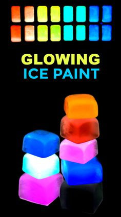 Light up the night with beautiful works of art that glow-in-the-dark!  This glowing ice paint is easy to make and SO FUN kids will ask to make it again & again. #glowingice #glowingicecubes #glowinthedarkice #icepainting #icepaint #iceactivities #iceactivitiesforkids #glowinthedarkactivities #growingajeweledrose