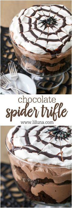 Chocolate Spider Trifle - layers of chocolate cake, Oreo, chocolate mousse and cream - perfect for Halloween! Chocolate Spider Trifle - layers of chocolate cake, Oreo, chocolate mousse and cream - perfect for Halloween! Chocolat Halloween, Bolo Halloween, Postres Halloween, Dessert Halloween, Halloween Goodies, Halloween Food For Party, Halloween Treats, Halloween Baking, Halloween Food Recipes
