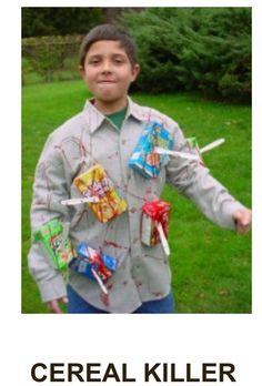 Cereal killer costume with plastic knives and face makeup fall cereal killer costume with plastic knives and face makeup fall halloween pinterest cereal killer costume ccuart Choice Image