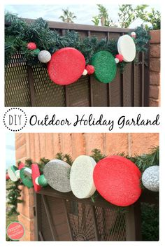 Red and Green Outdoor Christmas Lights . Red and Green Outdoor Christmas Lights . How to Make An Easy Diy Outdoor Holiday Garland Christmas Hacks, Christmas Lights, Christmas Holidays, Christmas Crafts, Christmas Porch, Country Christmas, Gingerbread Christmas Decor, Candy Christmas Decorations, Decoration Photo