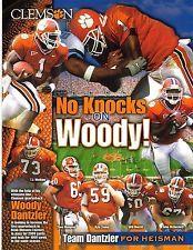 2001 WOODROW DANTZLER CLEMSON TIGERS FOOTBALL PROMO + POCKET SCHEDULE