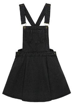 Black Criss Cross Ruffles Denim Skirt - Sheinside.com