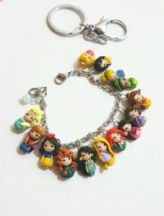 3 objects in one key chain bag charm bracelet by CandyDesignCrea Polymer Clay Princess, Polymer Clay Disney, Cute Polymer Clay, Polymer Clay Charms, Polymer Clay Jewelry, Disney Clay Charms, Disney Engagement Rings, Disney Wedding Rings, Disney Rings
