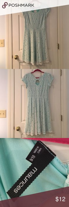 Baby Blue Lace Dress Short sleeves baby blue lace dress. High scoop neckline. Top of knee length. White lace overlay over baby blue fabric Maurices Dresses