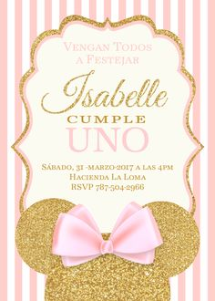trendy baby shower ideas for girls invitations birthdays Minnie Mouse 1st Birthday, Minnie Mouse Baby Shower, Minnie Mouse Party Decorations, Birthday Decorations, 1st Birthdays, 1st Birthday Parties, Birthday Cake, Minnie Mouse Rosa, Gold Party