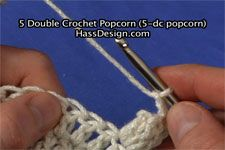 Free Crochet Stitch Videos and Instruction - Basic Crochet Stitches. This is the 5 Double Crochet Popcorn (5-dc pop).  Site includes International symbols to the left of each video.