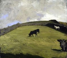 Sir William Nicholson. Cattle and a White Horse at Pasture,