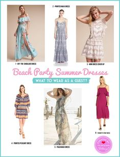 6 beach party dresses: what's a guest to wear? from tropical to maxi to boho, dresses to wear as a guest at a beach or poolside party this summer. Prom Dresses, Summer Dresses, Formal Dresses, Beach Wedding Inspiration, Wedding Ideas, Summer Outfits For Teens, Beach Party, Pretty Dresses, What To Wear