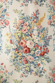 Jean Monro | Fabric Details Vintage Floral Fabric, Retro Floral, Vintage Prints, Vintage Textiles, Victorian Wallpaper, Antique Wallpaper, Chintz Fabric, Hand Printed Fabric, Mandala Pattern