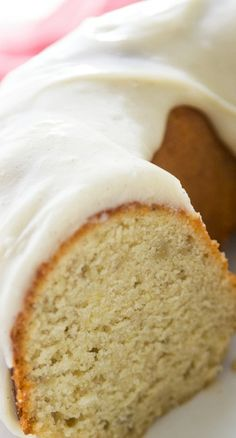 Banana Bundt Cake (with cream cheese frosting) ~ Full of banana flavor, this cake is moist and dense, just like a bundt cake should be. And it's frosted with cream cheese frosting!
