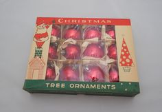 "Vintage Christmas Ornaments 2"", 8 Boxes of Fantasia Brand Red Ball Tree Ornaments, 1 Dozen in Each Box - pinned by pin4etsy.com"
