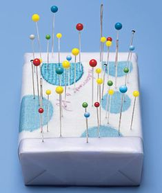 Using a bar of soap as a pin cushion makes pins and needles glide through fabric easily. via @Real Simple