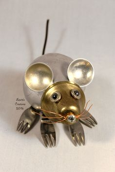 """Squeak"" ~ Found object, junk art mouse created by Laurie Schnurer in 2016."