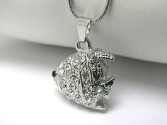 Crystal Stud Tropical Fish Charm Silver Pendant Necklace