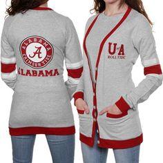 @susiechas Alabama Crimson Tide Ladies Ash Study Hall Long Sleeve Cardigan