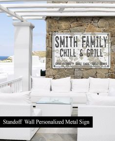 Customized Outdoor Sign for Porch Space – Black Metal Family Name Sign – Backyard Sign – Personalized Porch Signs - My Home Decor Backyard Signs, Patio Signs, Pool Signs, Outdoor Signs, Beach Signs, Outdoor Ideas, Modern Farmhouse Porch, Farmhouse Decor, Personalized Metal Signs