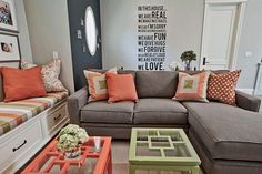 Coral coupled with refreshing lime green to create a breezy living room