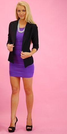 Purple Bodycon Dress Black Blazer and Black High Heels